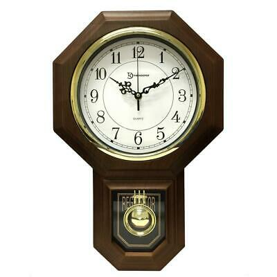 Wood Wall Clock Pendulum Westminster Chime Faux 18-1/2 Inch x 11-1/4 Inch