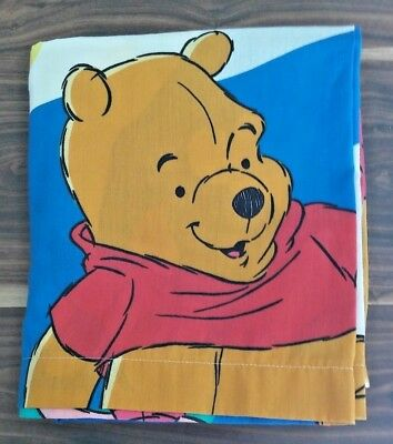 "WINNIE THE POOH PIGLET DISNEY SHEET DOUBLE FLAT SHEET 54"" x 75"" MADE IN U.S.A."