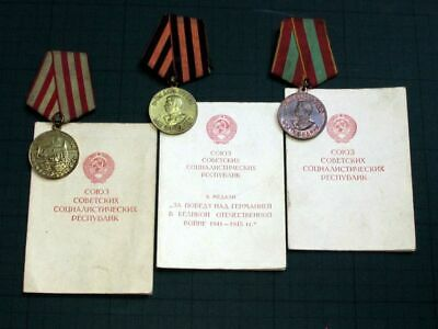 USSR Soviet Pathriotic War (WW 2) Medals Set with Same Person Sertificates
