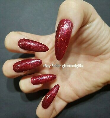 24 Hand Painted Gel False Nails Dark Red Glitter Coffin, Stiletto, Square, Oval