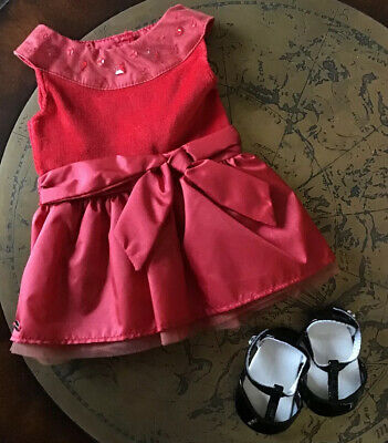 American Girl Joyful Red Holiday Party Dress Isabelle With Black Shoes