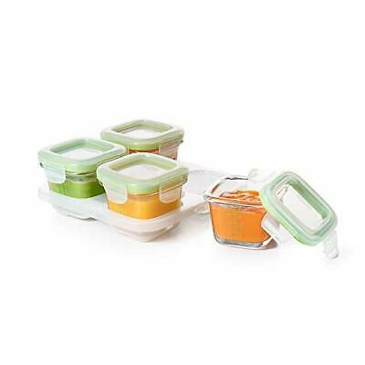 OXO Tot Glass Baby Blocks Food Storage Containers, Green, 4 oz