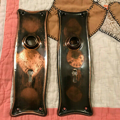 2 Copper Early 1900's Japanned / Copper Flash Door Knob Backplates, Free S/H