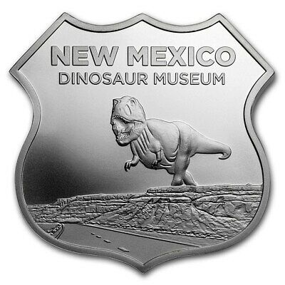 1oz Silver Route 66 Hwy Sign 6th Series New Mexico Dinosaur  Caps,Velvet Pouch
