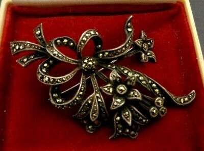 Antique Art Deco Sterling Silver Large Marcasite Brooch Vintage Jewellery 1930's