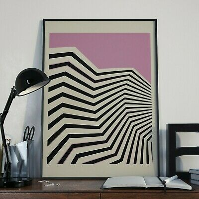 Abstract Mid Century Pop Art Deco Pink A3 Retro Print - Limited Edition Of 100