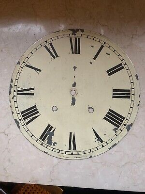 Antique Hand painted Wall Clock Metal Face 1903