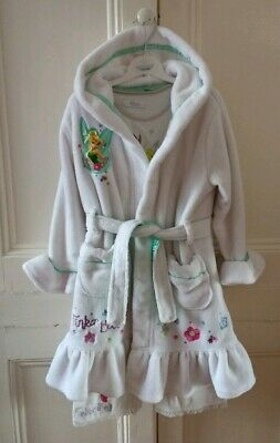 Disney Tinkerbell White Pajamas PJs and Dressing Gown Robe 3-4 & 5-6 years