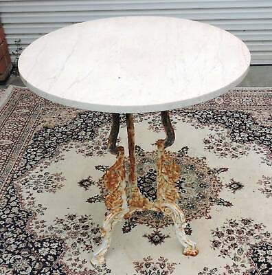 Antique Cast Iron Marble Top Patio Garden Round Table.