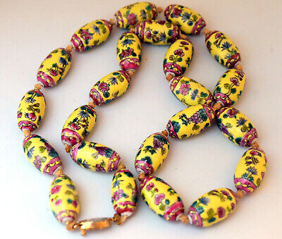 """Vintage Chinese Hand Painted Porcelain Beads Necklace 25"""" Long"""