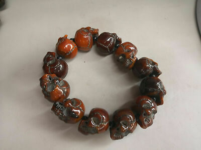 Worthy collection Old  carving beads and skull series into rosary bracelet