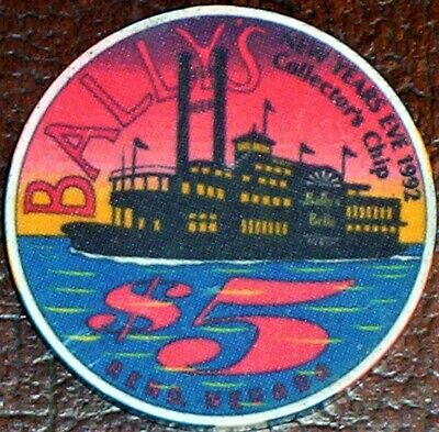 Old $5 BALLY'S Casino Poker Chip Vintage Antique Chipco Mold Reno New Years 1992