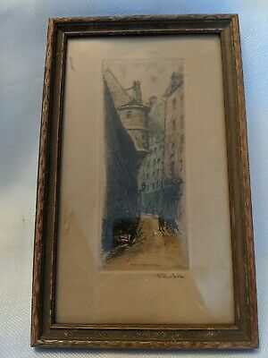 ANTIQUE EARLY 1900's FRENCH Etching by LEOPOLD ROBIN L'HOTEL de SENS Paris