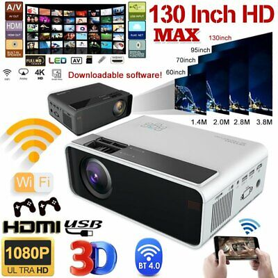4K 3D WiFi Wireless LED Projector Android BT 1080P Smart Home Theater USB VGA CA