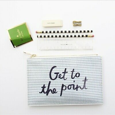 Nwt Authentic Kate Spade Seersucker Pencil Pouch Msrp $30 - Free Shipping
