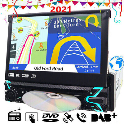 Sony Lens GPS 1Din Flip Out Car Stereo Radio DVD mp3 Player Bluetooth DAB+ Map