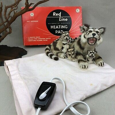 Red Line Vintage Heating Pad ~No Auto Shut Off~ Automatic Electric Flannel Cover