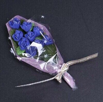 Doll House Accessories 1:12th Miniature -  1 Mini Bunch of Blue Roses