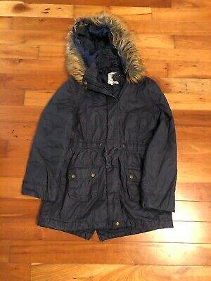 Navy Girl's Coat With Removable Fur On Hood Age 13 - 14 From Marks And Spencers