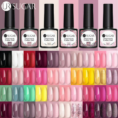 UR SUGAR UV Gel Nail Polish Soak Off Holographic Gel Varnish Base Top Coat 7.5ml
