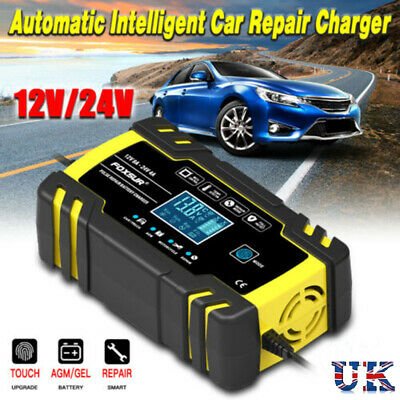 12V/24V Automatic Electronic Car Battery Charger  8 AMP Fast/Trickle/Pulse Modes