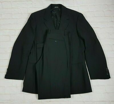 Banana Republic Men's Suit 2 pc 100% Wool Jet Black Italy Made Size 40R 31W