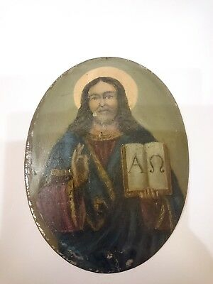 Antique Russian Icon Hand Painted in Metal 19th century.
