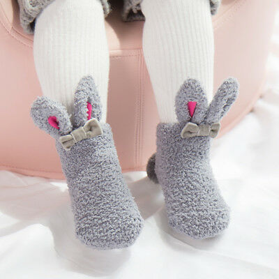 Baby Kids Socks Boy Girls Winter Velvet Thick Warm Soft Lovely Bunny Socks Shoes