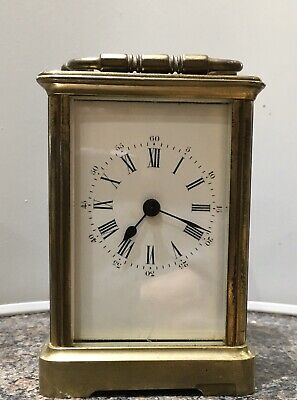 Antique Carriage Clock Brass And Bevelled Glass