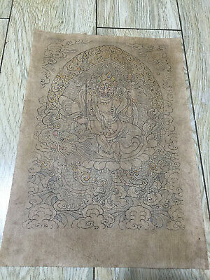 Mongolian ANTIQUE Buddhist OLD Paper PAINT 19c (RARE)
