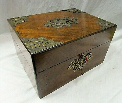 Victorian Burr Walnut Fully Fitted Vanity Box with Key, circa 1890 Hidden Drawer