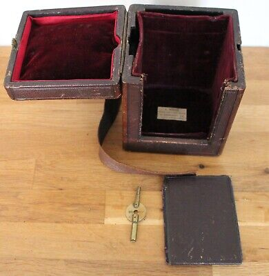 Large Antique Leather Travelling Case for Carriage Clock + Key
