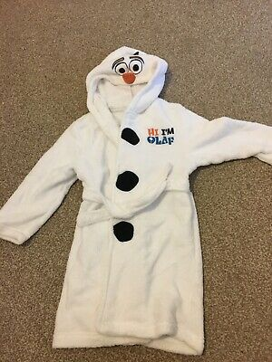 olaf white kids dressing gown age 5-6 with hood and  features olaf frozen