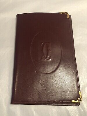 Authentic Vintage 1980s CARTIER Bordeaux Leather Cover Binder, Holiday Gift!
