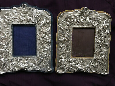 Antique English Silver Pair Reposse Picture Frames 5 Hallmarks