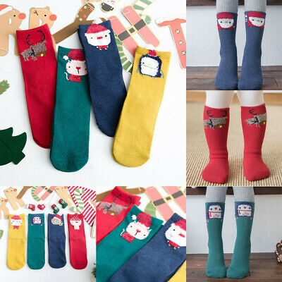 4Pairs Kids Girls Boys Children 3/4 Knee High Cartoon Socks Sets 2-10 Years Set