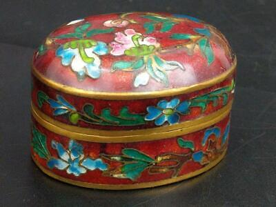 Chinese Red Cloisonne Pill Box Mid Century
