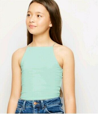 Girls x2 New Look Age 14-15 Mint & White Cami Tops new with tags christmas gift