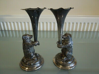 Antique Victorian Pair Electroplated Bear Epergnes William Wheatcroft Harrison