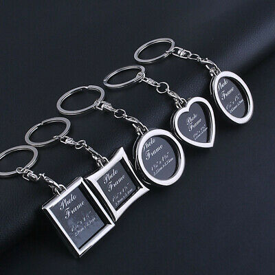 Keychain Photo Frame Keyring Silver Metal Key Chain For Him Her Mum Dad Gifts UK
