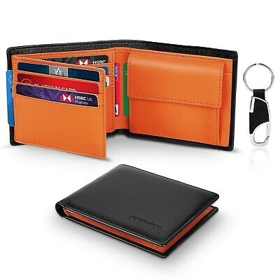 Wallets Mens Slim Trifold RFID Blocking Genuine Leather with Coin Pocket, 2 B...