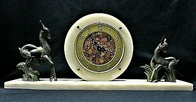 French Art Deco Marble Clock On A Plinth With Two Deer A Doe And a Fawn.