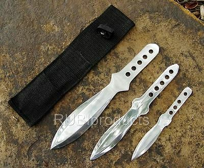 "3pc Kunai Set 8"" THROWING KNIVES Stainless Steel Ninja Knife w/ Sheath TKN03"