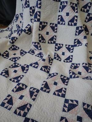Gorgeous! Tiny Pieces c1880 Antique Red White & Blue QUILT Patriotic Americana