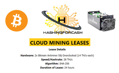 24 Hours 28TH/s Bitcoin Mining Lease ANTMINER S9 ASIC Hashing Crypto BTC Hash