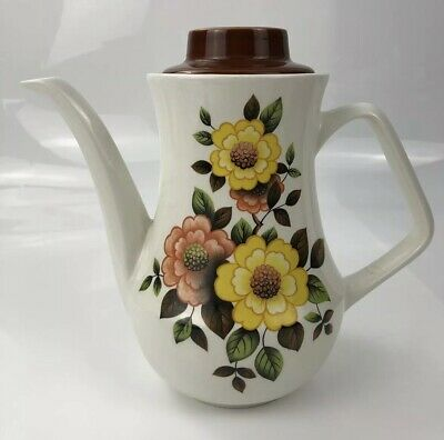 H Aynsley Co 1940s Antique Tall Yellow Pink Floral Flower Teapot Tea Pot Coffee