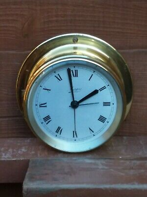 Marpro marine brass quartz battery time alarm clock narrow boat ship mancave
