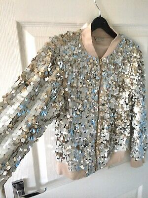 Girls NEXT Full Silver Sequin Nude Bomber Jacket Coat Age 11 BARELY WORN!