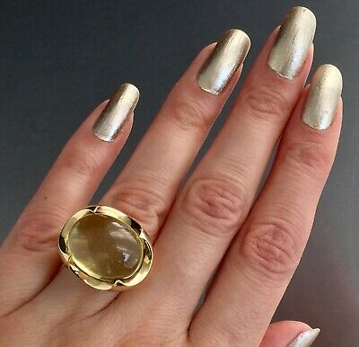 Large Vintage 20.71 Carat Citrine Cabochon Cocktail Ring 14k Yellow Gold