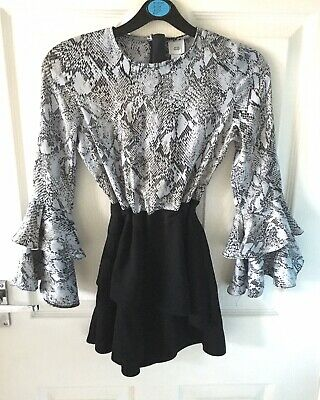 Girls RIVER ISLAND Snakeskin Ruffle Skort Party Playsuit Age 9 WORN ONCE!